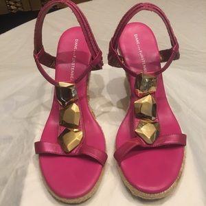 Diane Von Furstenberg Pink Raffia Wedges